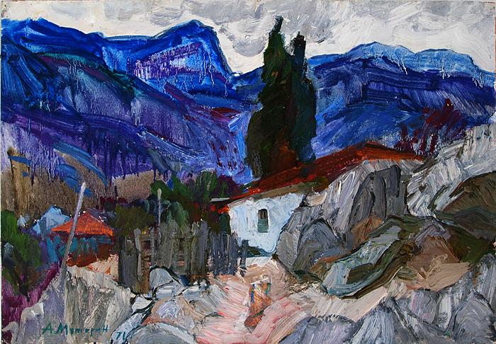 In Crimea mountain landscape - oil painting