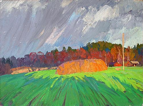After a Thunderstorm summer landscape - oil painting