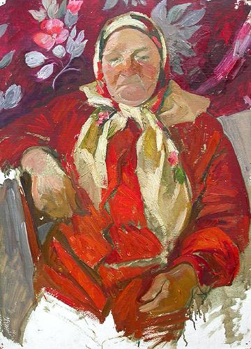Grandma's Portrait portrait or figure - oil painting