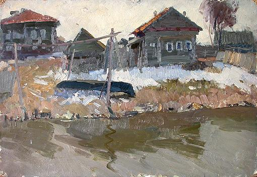 Fishermen's Village rural landscape - oil painting