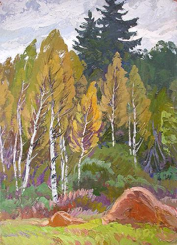 Edge of a Forest autumn landscape - oil painting