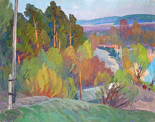 Sketch rural landscape - oil painting