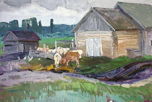 At the Calf Shed rural landscape - oil painting