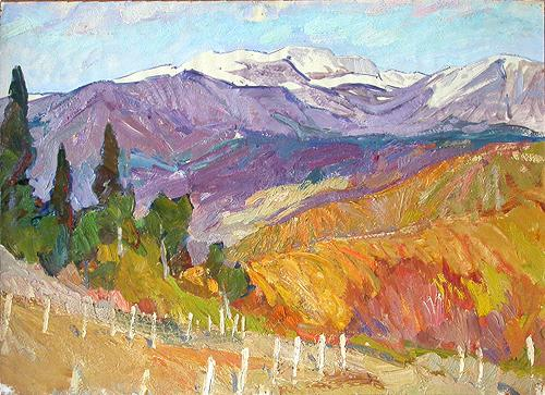 Sketch. Crimea mountain landscape - oil painting