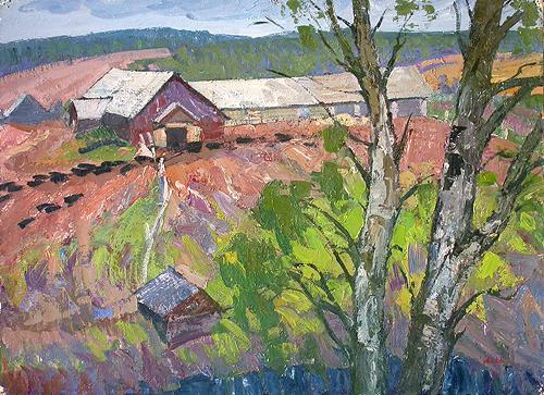 Farm rural landscape - oil painting