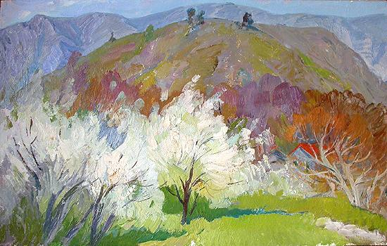 Crimean Spring mountain landscape - oil painting