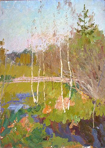 Young Birches spring landscape - oil painting