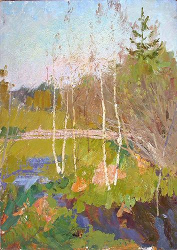 Молодые березки весенний пейзаж - масло живопись