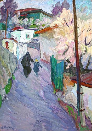 Side Street in Gurzuf cityscape - oil painting