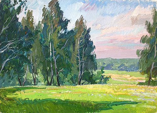 Sunlit Glade summer landscape - oil painting
