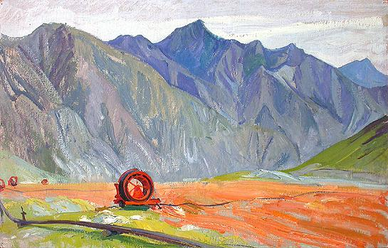 The Altai Mountains Sketch mountain landscape - oil painting