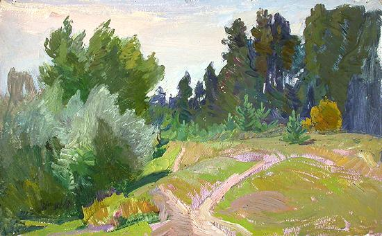 Edge of a Forest summer landscape - oil painting