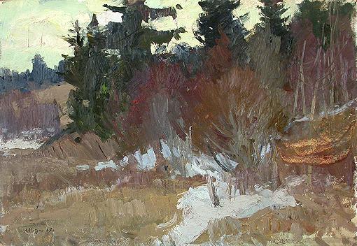 Последний снег весенний пейзаж - масло живопись