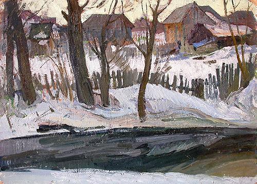 Spring Motive rural landscape - oil painting