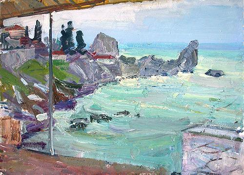 Chekhov Bay seascape - oil painting