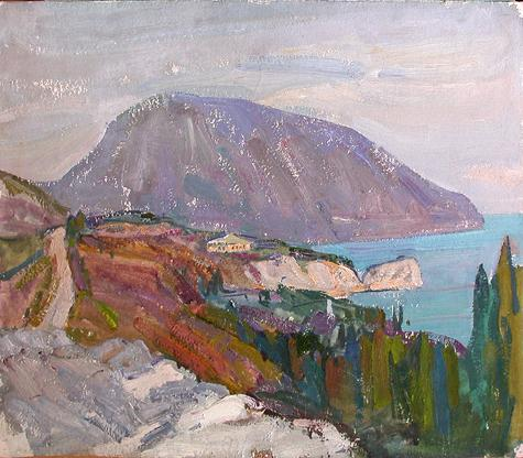 Bear Mountain seascape - oil painting