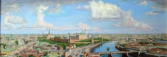 Moscow Panorama cityscape - oil painting