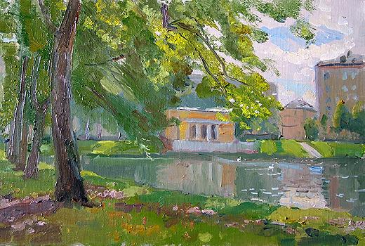 Patriarch's Ponds cityscape - oil painting