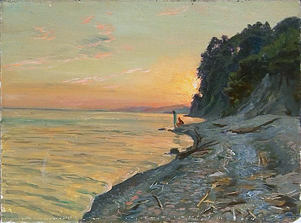 Setting Sun seascape - oil painting