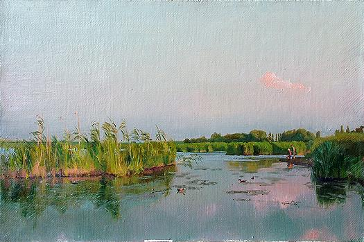 Evening at the Kuban River summer landscape - oil painting