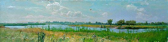 Полдень летний пейзаж - масло живопись
