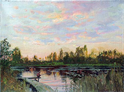 Fisherman summer landscape - oil painting