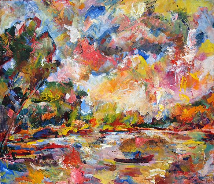 Sky Theater abstract landscape - oil painting ladscape lake sky effects fauvism