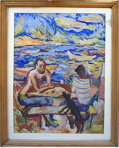 We Are at Home genre scene - tempera painting