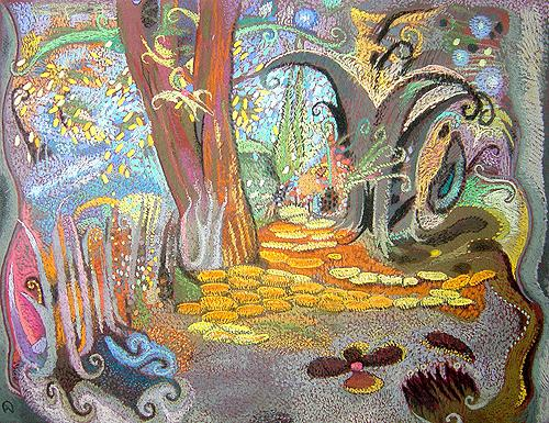 Garden of Centaur abstract landscape - pastel painting